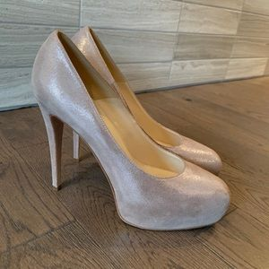 Brian Atwood Shimmering Suede Blush Pumps